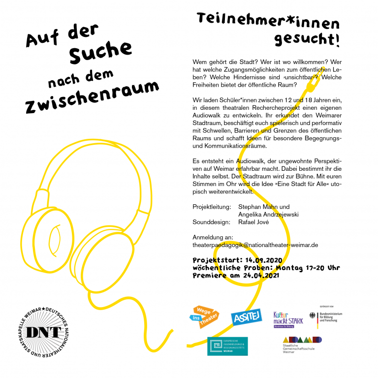 """Flyer zum Audiowalk """"Zwischenraum"""""""
